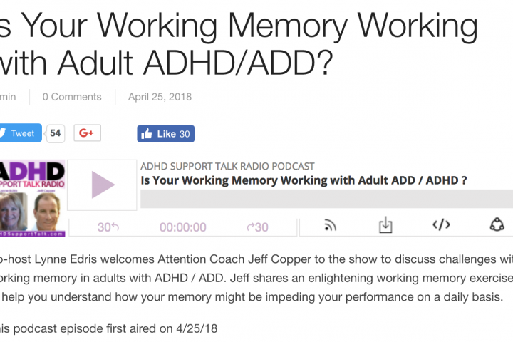 Is Your Working Memory Working with Adult ADHD/ADD?